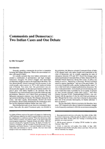 Communists and Democracy: Two Indian Cases and One Debate Tornqllist* by one