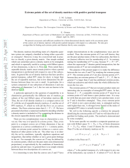 Extreme points of the set of density matrices with positive... J. M. Leinaas J. Myrheim