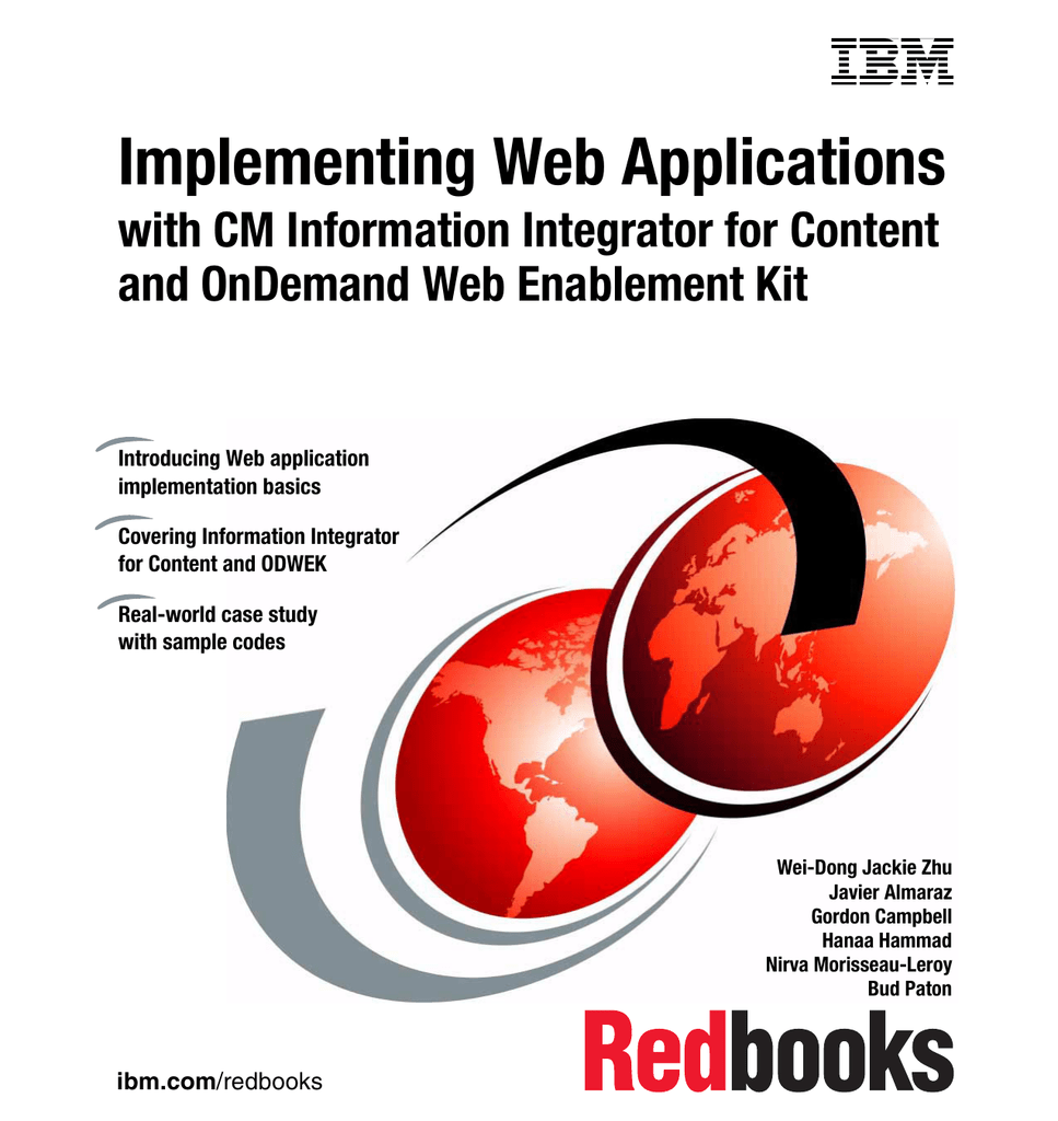 implementing web applications with cm information integrator for content front cover - Integrator Cover Letter