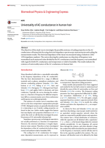 Universality of AC conductance in human hair