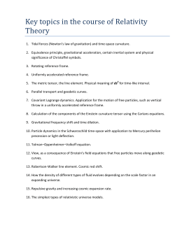 Key topics in the course of Relativity Theory