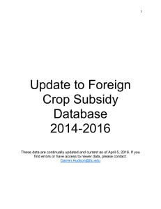 Update to Foreign Crop Subsidy Database