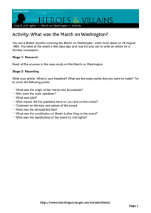 VILLAINS HEROES & Activity: What was the March on Washington?