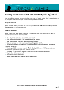 VILLAINS HEROES & Activity: Write an article on the anniversary of King's death