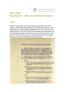 Work Sheet Everyday Life – Why was rationing introduced? Tasks