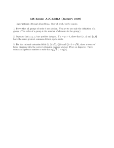 MS Exam: ALGEBRA (January 1998)