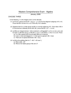 Masters Comprehensive Exam - Algebra January, 2009 CHOOSE THREE