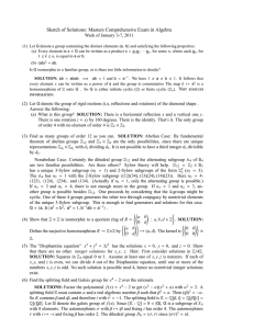 Sketch of Solutions: Masters Comprehensive Exam in Algebra