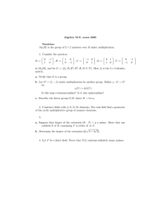Algebra M.S. exam 2005 Notation: M