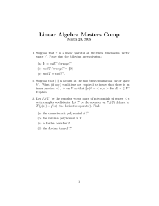 Linear Algebra Masters Comp