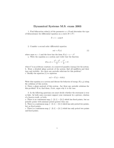Dynamical Systems M.S. exam 2003