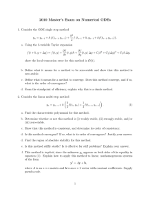 2010 Master's Exam on Numerical ODEs
