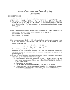 Masters Comprehensive Exam - Topology January, 2010 CHOOSE THREE