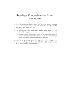 Topology Comprehensive Exam April 15, 2004
