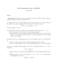 PhD Comprehensive Exam: ALGEBRA