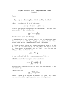 Complex Analysis PhD Comprehensive Exam