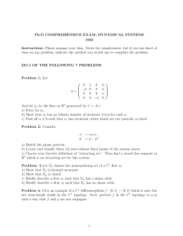 Ph.D COMPREHENSIVE EXAM: DYNAMICAL SYSTEMS 1993