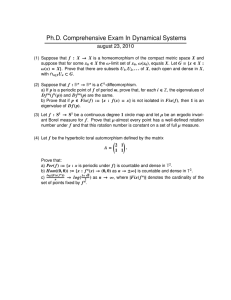 Ph.D. Comprehensive Exam In Dynamical Systems august 23, 2010