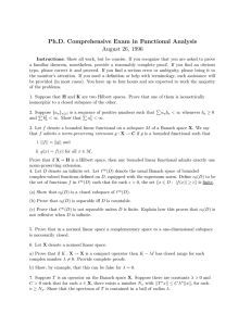 Ph.D. Comprehensive Exam in Functional Analysis August 26, 1996