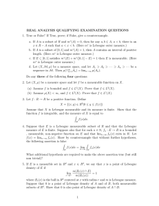 REAL ANALYSIS QUALIFYING EXAMINATION QUESTIONS