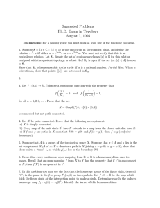 Suggested Problems Ph.D. Exam in Topology August ?, 1995