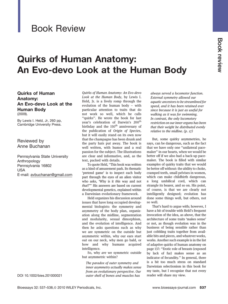 Book Review Quirks Of Human Anatomy Quirks Of Human