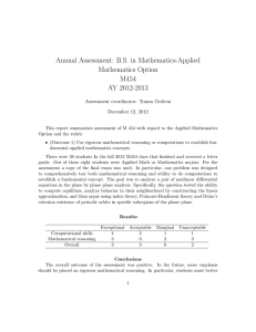 Annual Assessment: B.S. in Mathematics-Applied Mathematics Option M454 AY 2012-2013