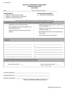 MASTER OF ENVIRONMENTAL MANAGEMENT  PROGRAM REVIEW FORM  BASIC FORM