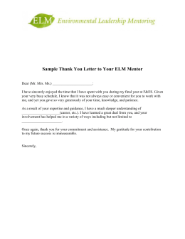 Sample Thank You Letter to Your ELM Mentor