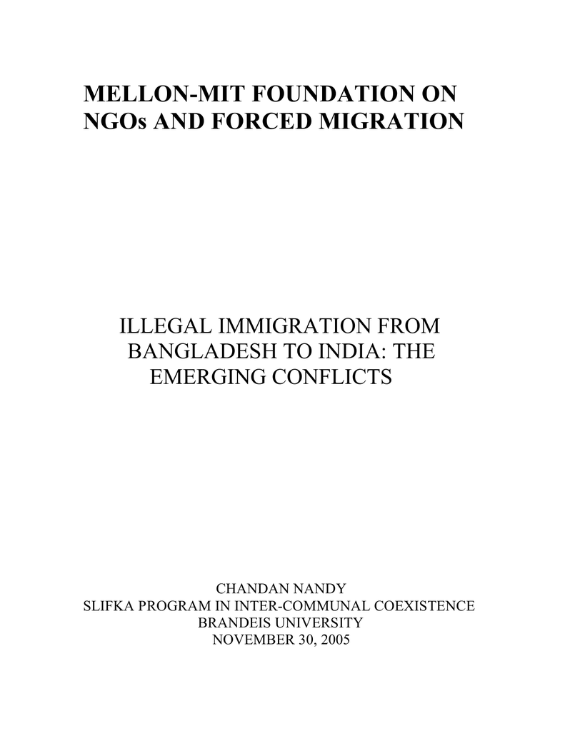 MELLON-MIT FOUNDATION ON NGOs AND FORCED MIGRATION ILLEGAL