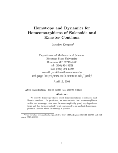 Homotopy and Dynamics for Homeomorphisms of Solenoids and Knaster Continua