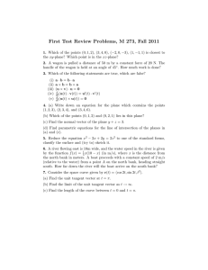 First Test Review Problems, M 273, Fall 2011