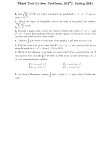 Third Test Review Problems, M273, Spring 2011