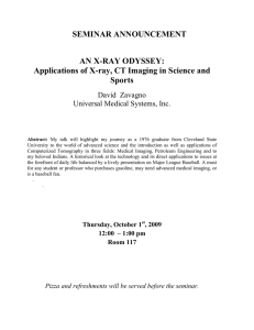 SEMINAR ANNOUNCEMENT AN X-RAY ODYSSEY: Sports