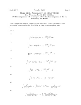 Math 1100: Assignment #6 SOLUTIONS