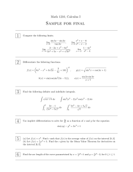 Sample for final 1 Math 1210, Calculus I