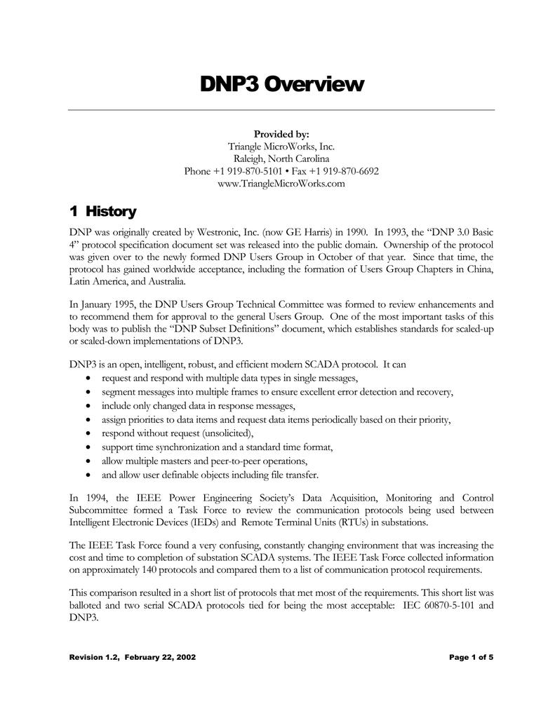 DNP3 Overview
