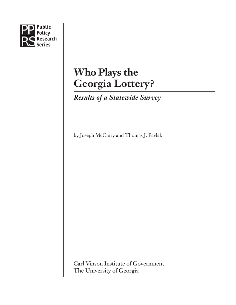 PP RS Who Plays the Georgia Lottery?
