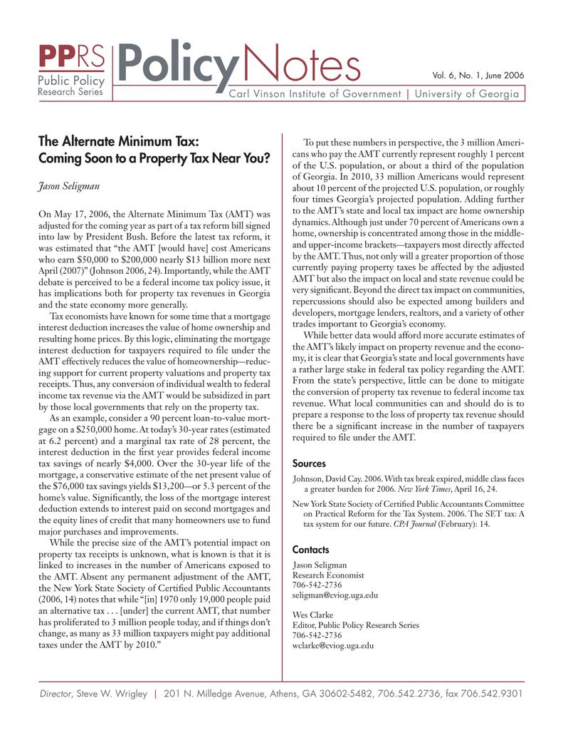 policy notes the alternate minimum tax carl vinson institute of