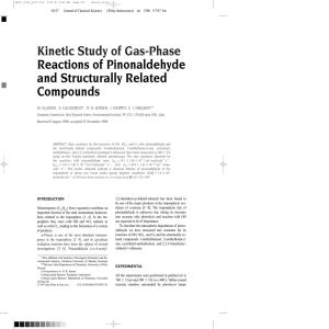Kinetic Study of Gas-Phase Reactions of Pinonaldehyde and Structurally Related Compounds