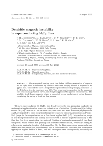 Dendritic magnetic instability in superconducting films MgB