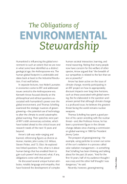 ENVIRONMENTAL Stewardship The Obligations of