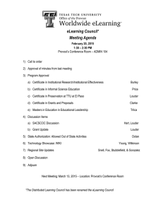 eLearning Council* Meeting Agenda