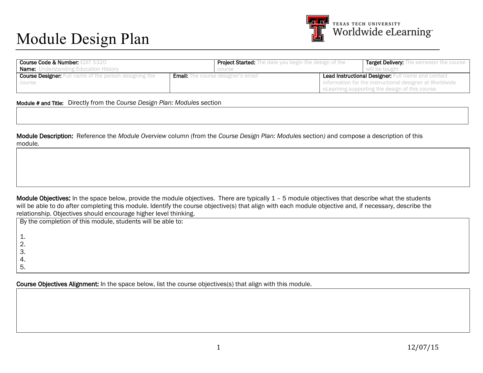 Module Design Plan