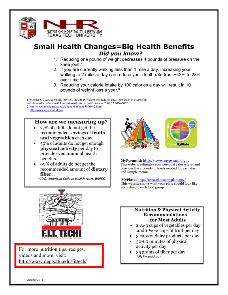 Small Health Changes=Big Health Benefits Did you know?