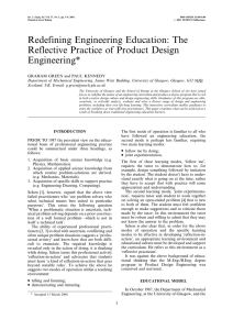 Redefining Engineering Education: The Reflective Practice of Product Design Engineering*