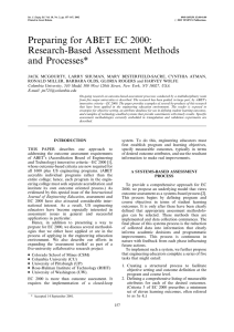 Preparing for ABET EC 2000: Research-Based Assessment Methods and Processes*