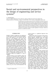 Social and environmental perspectives in the design of engineering and service systems*