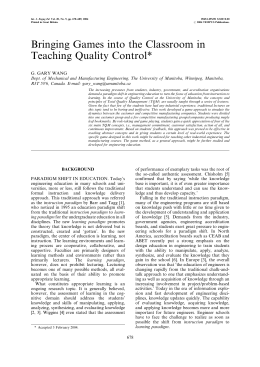 Bringing Games into the Classroom in Teaching Quality Control*