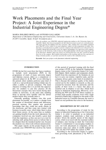 Work Placements and the Final Year Industrial Engineering Degree*
